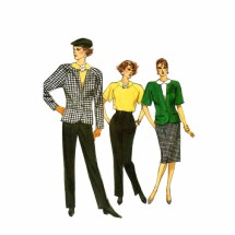 1980s Misses Jacket Skirt Pants Top Vogue 9663 Vintage Sewing Pattern Size 6 - 8 - 10