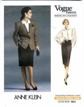 Vogue 1931 American Designer Anne Klein Jacket Blouse Skirt Size 10 - Bust 32 1/2