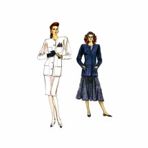 1980s Loose Fitting Jacket Straight or Flared Skirt Vogue 7103 Vintage Sewing Pattern 6 - 8 - 10