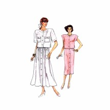 1980s Misses Top and Skirt Vogue 9901 Vintage Sewing Pattern Size 8 - 10 - 12