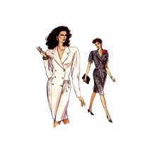 1980s Misses Double Breasted Dress Vogue 7272 Vintage Sewing Pattern Size 8 - 10 - 12