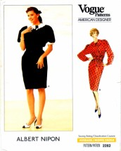 Vogue 2282 Womens Albert Nipon Womens Dress Sewing Pattern Size 14 Bust 36