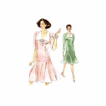 1980s Misses Drop Waist Dress Vogue 7495 Vintage Sewing Pattern Size 6 - 8 - 10