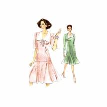 1980s Misses Drop Waist Dress Vogue 7495 Vintage Sewing Pattern Size 6 - 8 - 10