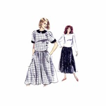 1980s Misses Top Skirt Culottes Vogue 7529 Vintage Sewing Pattern Size 12 - 14 - 16 Bust 34- 36 - 38