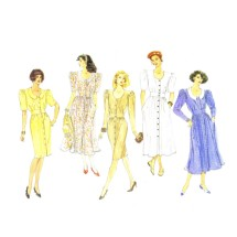 1990s Womens Blouson Dress Straight Flared Vogue 2482 Sewing Pattern Size 8 - 10 - 12