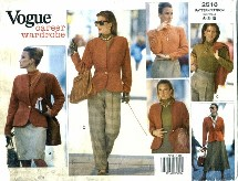 Vogue 2518 Misses Jacket Top Skirt Pants Size 6 - 10