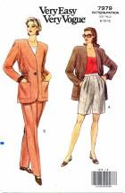 Vogue 7979 Jacket Pants Shorts Size 8 - 12 - Bust 31 1/2 - 34