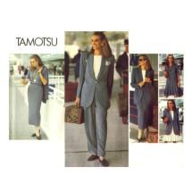1990s Tamotsu Jacket Dress Top Skirt Pants Vogue 1087 Vintage Sewing Pattern Full Figure Size 20 - 22 - 24