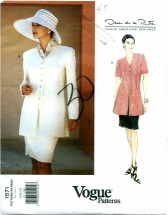 Vogue 1571 Oscar de la Renta Top & Skirt Size 6 - 10 - Bust 30 1/2 - 32 1/2