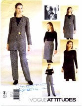 Vogue 2046 Adri Jacket Dress Top Skirt Pants Size 8 - 12 - Bust 31 1/2 - 34