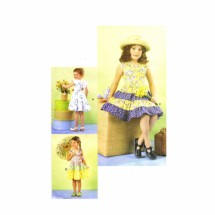 Toddler Girls Tiered Skirt Dress Vogue 7068 Sewing Pattern Size 2 - 3 - 4 - 5