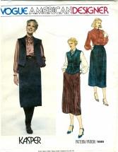 Vogue 1999 American Designer KASPER Blouse Vest Skirt Size 10 - Bust 32 1/2