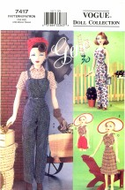 Vogue 7417 Crafts Sewing Pattern Gene Doll Sportswear Clothing