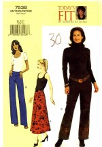 Vogue 7538 Sewing Pattern Misses Sandra Betzina Skirt Pants Waist 32 1/2 - 37 1/2 Vogue 7538 Sewing Pattern