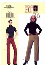 Vogue 7608 Sewing Pattern Sandra Betzina Straight Leg Boot Cut Jeans Waist 26 1/2 - 30 1/2