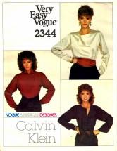 American Designer Calvin Klein Blouse Size 10 - Bust 32 1/2 Vogue 2344 Sewing Pattern