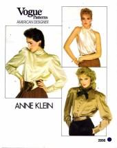 Vogue 2856 Anne Klein Pullover Blouse Size 10 - Bust 32 1/2