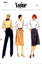 Vogue 7805 Skirt and Pants Size 12 - Waist 26 1/2