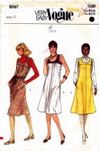Vogue 8067 Sewing Pattern Dress Jumper Belt Size 8 Bust 31 1/2