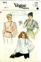 Vogue 8210 Misses Pullover Blouse Size 8 - Bust 31 1/2