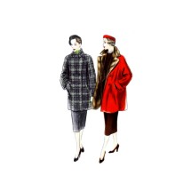 1950s Misses Three Quarter Length Fur Coat Vogue 7154 Vogue Sewing Pattern Size 16 Bust 34
