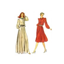 1980s Misses Loose Fitting Blouson Dress in Evening Length Vogue 7765 Vintage Sewing Pattern Size 10 Bust 32 1/2