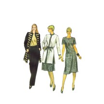 1980s Misses Coat, Dress or Top and Pants Vogue 8070 Vintage Sewing Pattern Size 10 Bust 32 1/2