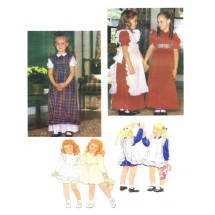 1980s Girls Dress and Pinafore Little Vogue 2823 Vintage Sewing Pattern Size 5 Breast 24