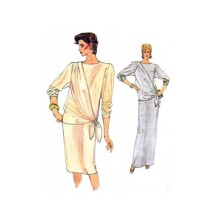 1980s Loose Fitting Straight Dress Vogue 8763 Vintage Sewing Pattern Size 10 Bust 32 1/2