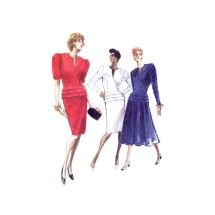 Misses Wrap Tiered Peplum Top and Tapered or Flared Skirt Vogue 7411 Vintage Sewing Pattern Size 6 - 8 - 10