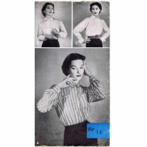 1950s Misses Front Button Blouse Womans Day 5002 Vintage Sewing Pattern Size 14 Bust 32